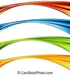 セット, 色, 活気に満ちた, カーブ, 波, くるくる回る, 旗