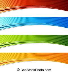 セット, 色, 活気に満ちた, カーブ, 波, アーチ, 旗