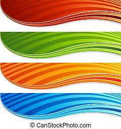セット, 色, 活気に満ちた, 抽象的, 現代, 波, 旗