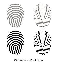 セット, 色, 灰色, 黒, 指紋, アイコン