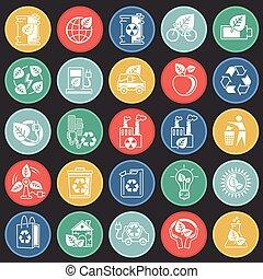 セット, 色, 現代, エコロジー, デザイン, 最新流行である, デザイン, 網アイコン, concept., 単純である, インターネット, 正方形, シンボル, ウェブサイト, 印。, 背景, グラフィック, モビール, ボタン, app., ベクトル, ∥あるいは∥