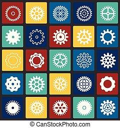 セット, 色, 現代, デザイン, 最新流行である, デザイン, 網アイコン, concept., 単純である, インターネット, 正方形, シンボル, ウェブサイト, ギヤ, 印。, 背景, グラフィック, モビール, ボタン, app., ベクトル, ∥あるいは∥