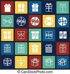 セット, 色, 現代, デザイン, 最新流行である, デザイン, 網アイコン, concept., 単純である, インターネット, 正方形, シンボル, ウェブサイト, 印。, 背景, グラフィック, 贈り物, モビール, ボタン, app., ベクトル, ∥あるいは∥