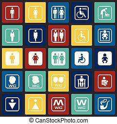 セット, 色, 現代, デザイン, 最新流行である, デザイン, 網アイコン, concept., 単純である, インターネット, 正方形, シンボル, ウェブサイト, 印。, 背景, グラフィック, モビール, ボタン, restroom, app., ベクトル, ∥あるいは∥
