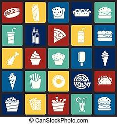 セット, 色, 現代, fasfood, デザイン, 最新流行である, デザイン, 網アイコン, concept., 単純である, インターネット, 正方形, シンボル, ウェブサイト, 印。, 背景, グラフィック, モビール, ボタン, app., ベクトル, ∥あるいは∥