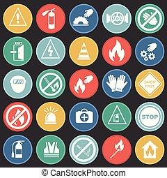 セット, 色, 禁止, circels, 安全, 背景, サイン, 黒