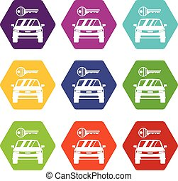 セット, 色, 自動車, hexahedron, キーアイコン