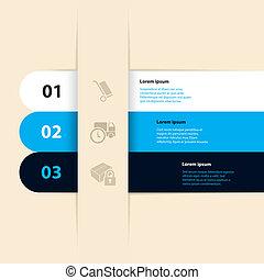セット, 色, 3, ラベル, infographic, 涼しい