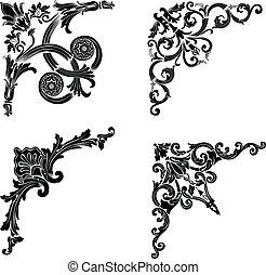 セット, 色, corners., 1(人・つ), 4つの要素, design.
