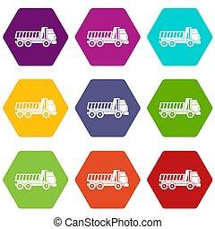 セット, 色, hexahedron, トラック, ダンパ, アイコン