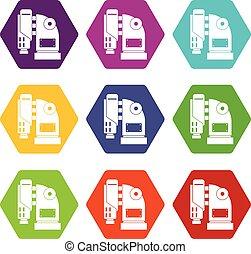 セット, 色, hexahedron, 機械, 空気のハンマー, アイコン