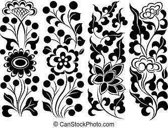 セット, 花, ボーダー, 要素
