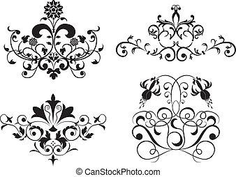 セット, 花, 要素, 集めなさい, ベクトル, デザイン