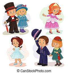 セット, 芸術, クリップ, 若い, 衣装, 歴史的, イラスト, 子供