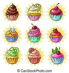 セット, 芸術, ステッカー, ポンとはじけなさい, パッチ, ベクトル, 味が良い, cupcake, ∥あるいは∥