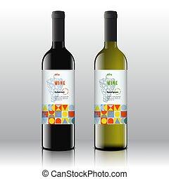 セット, 芸術, パターン, ラベル, 現代 同世代の人, ワイン, bottles., typography., 現実的, ベクトル, デザイン, ブドウ, 流行, 引かれる, 白, 手, 赤, 束