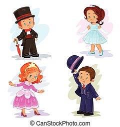 セット, 芸術, 舞踏会場, クリップ, 衣装, 若い, イラスト, 子供