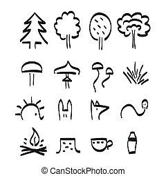 セット, 芸術, 項目, ベクトル, 黒い森林, 線