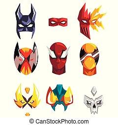 セット, 英雄, マスク, colorfu, ベクトル, 背景, イラスト, 白, 極度
