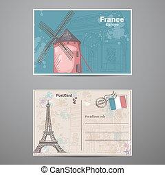 セット, 葉書, 2, パリ, 主題, 2, 側, france.