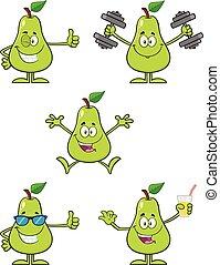 セット, 葉, 特徴, ナシ, 6., フルーツ, 緑, コレクション, 漫画, マスコット