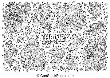 セット, 蜂蜜, 主題, 要素, デザイン, doodles, 漫画