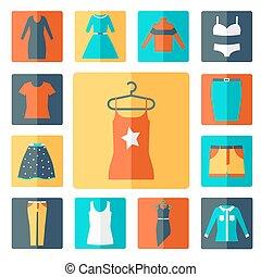 セット, 衣類, アイコン