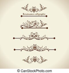 セット, 要素, 仕切り, calligraphic, ベクトル, デザイン, ページ, 装飾