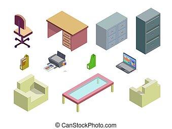 セット, 要素, 等大, オフィス家具, 家