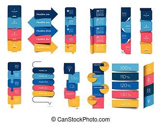 セット, 要素, 縦, charts., 大きい, ステップ, 旗, infographics, スケジュール, テーブル
