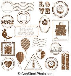 セット, 見なさい, 切手, -, birthday, ベクトル, 私, ギャラリー, もっと