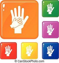 セット, 親, アイコン, 色, 一緒の 手, ベクトル, 子供