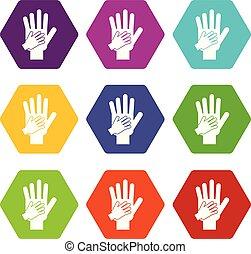 セット, 親, 色, hexahedron, 一緒の 手, 子供, アイコン