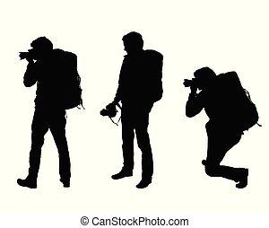 セット, 観光客, カメラ, 男性, 3, 現実的, シルエット, ベクトル, バックパック, カメラマン