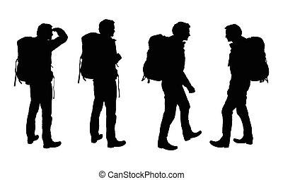 セット, 観光客, バックパック, 男性, 隔離された, 現実的, シルエット, ベクトル