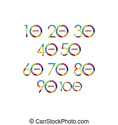 セット, 記念日, イラスト, ベクトル, デザイン, テンプレート, 年, ロゴ