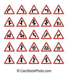 セット, 警告, 三角, サイン