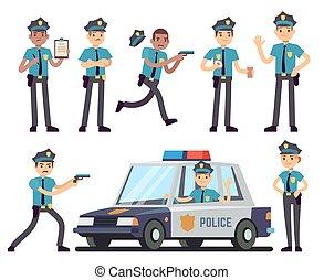 セット, 警察, 警官, ユニフォーム, ベクトル, 特徴, 婦人警官, 漫画
