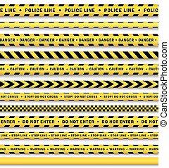 セット, 警察, 隔離された, 黄色, ベクトル, 黒, テープ