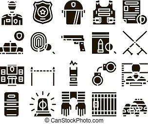 セット, 警察, glyph, ベクトル