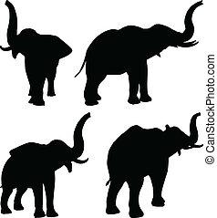 セット, 象, editable, シルエット, ベクトル, アフリカ, ポーズを取る, におい