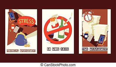 セット, 財政, 欠乏, お金。, deadlines., 概念, management., 緊張に満ちた, いいえ, 寄付, abuse., habits., ミーティング, もっと, ストレス, illustration., の上, ひどく, ベクトル, タイムカード, 状態