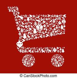 セット, 買い物カート, 形, クリスマス, アイコン