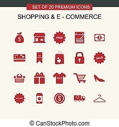 セット, 買い物, ecommerce, 赤, アイコン