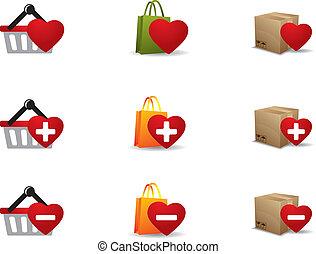 セット, 買い物, valenintes, 日, アイコン