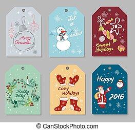 セット, 贈り物タグ, 年, 新しい, クリスマス