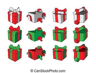 セット, 贈り物, オブジェクト, boxes., 隔離された, ベクトル, 背景, 白, doodles., 漫画
