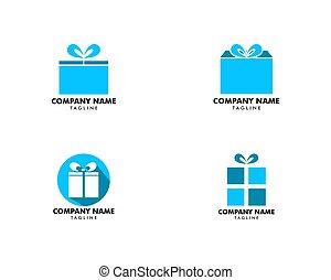 セット, 贈り物, ベクトル, テンプレート, ロゴ, アイコン