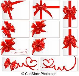 セット, 贈り物, 大きい, お辞儀をする, vector., ribbons., 赤