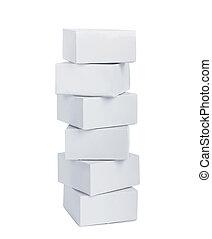 セット, 贈り物, 隔離された, 箱, 背景, 白
